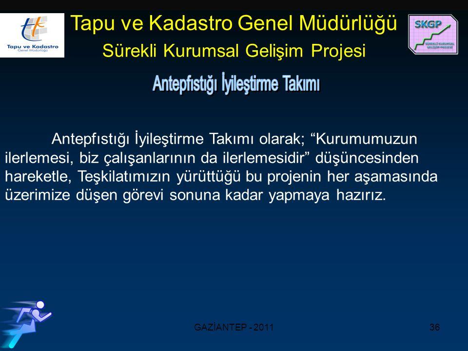 GAZİANTEP - 201136 Tapu ve Kadastro Genel Müdürlüğü Sürekli Kurumsal Gelişim Projesi Antepfıstığı İyileştirme Takımı olarak; Kurumumuzun ilerlemesi, biz çalışanlarının da ilerlemesidir düşüncesinden hareketle, Teşkilatımızın yürüttüğü bu projenin her aşamasında üzerimize düşen görevi sonuna kadar yapmaya hazırız.