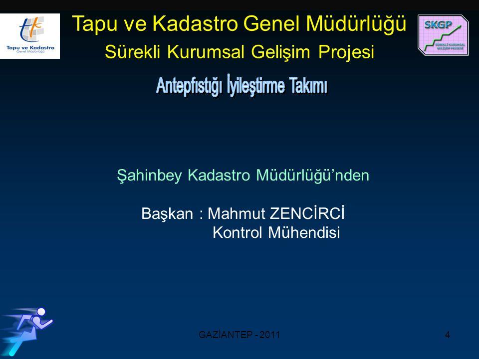GAZİANTEP - 20114 Şahinbey Kadastro Müdürlüğü'nden Başkan : Mahmut ZENCİRCİ Kontrol Mühendisi Tapu ve Kadastro Genel Müdürlüğü Sürekli Kurumsal Gelişim Projesi