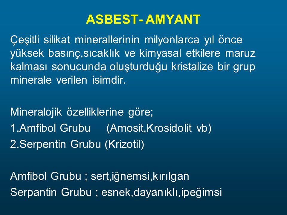 ASBEST- AMYANT Çeşitli silikat minerallerinin milyonlarca yıl önce yüksek basınç,sıcaklık ve kimyasal etkilere maruz kalması sonucunda oluşturduğu kristalize bir grup minerale verilen isimdir.