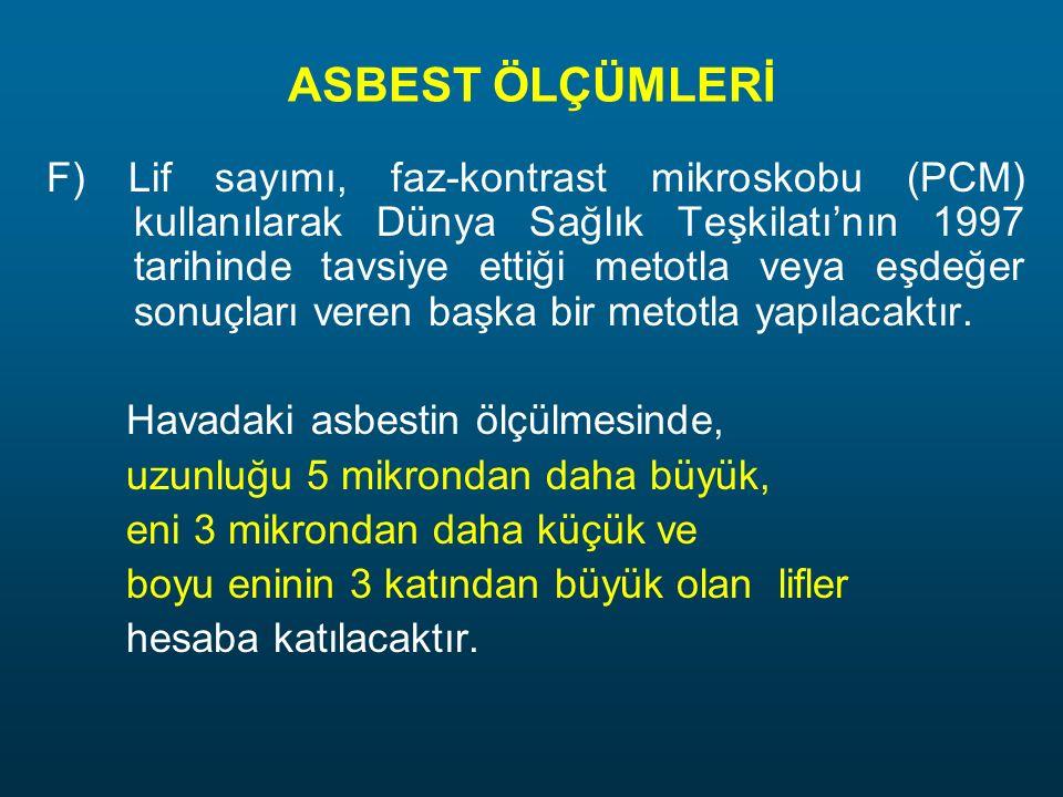 ASBEST ÖLÇÜMLERİ F) Lif sayımı, faz-kontrast mikroskobu (PCM) kullanılarak Dünya Sağlık Teşkilatı'nın 1997 tarihinde tavsiye ettiği metotla veya eşdeğ