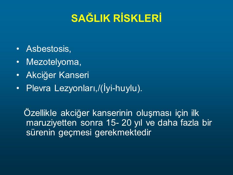 SAĞLIK RİSKLERİ Asbestosis, Mezotelyoma, Akciğer Kanseri Plevra Lezyonları,/(İyi-huylu). Özellikle akciğer kanserinin oluşması için ilk maruziyetten s