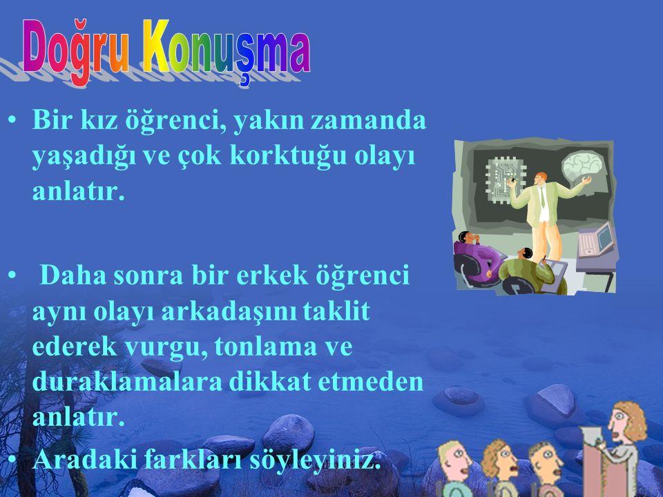 www.dilimce.com14 Bir kız öğrenci, yakın zamanda yaşadığı ve çok korktuğu olayı anlatır. Daha sonra bir erkek öğrenci aynı olayı arkadaşını taklit ede