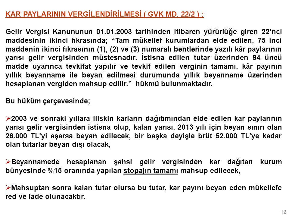 12 KAR PAYLARININ VERGİLENDİRİLMESİ ( GVK MD.