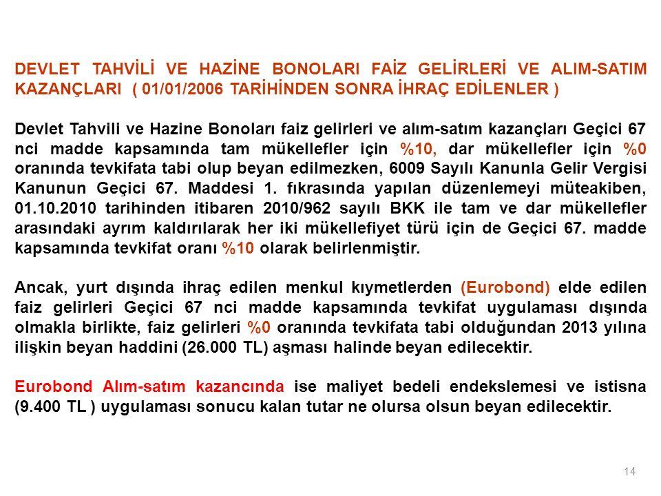 14 DEVLET TAHVİLİ VE HAZİNE BONOLARI FAİZ GELİRLERİ VE ALIM-SATIM KAZANÇLARI ( 01/01/2006 TARİHİNDEN SONRA İHRAÇ EDİLENLER ) Devlet Tahvili ve Hazine