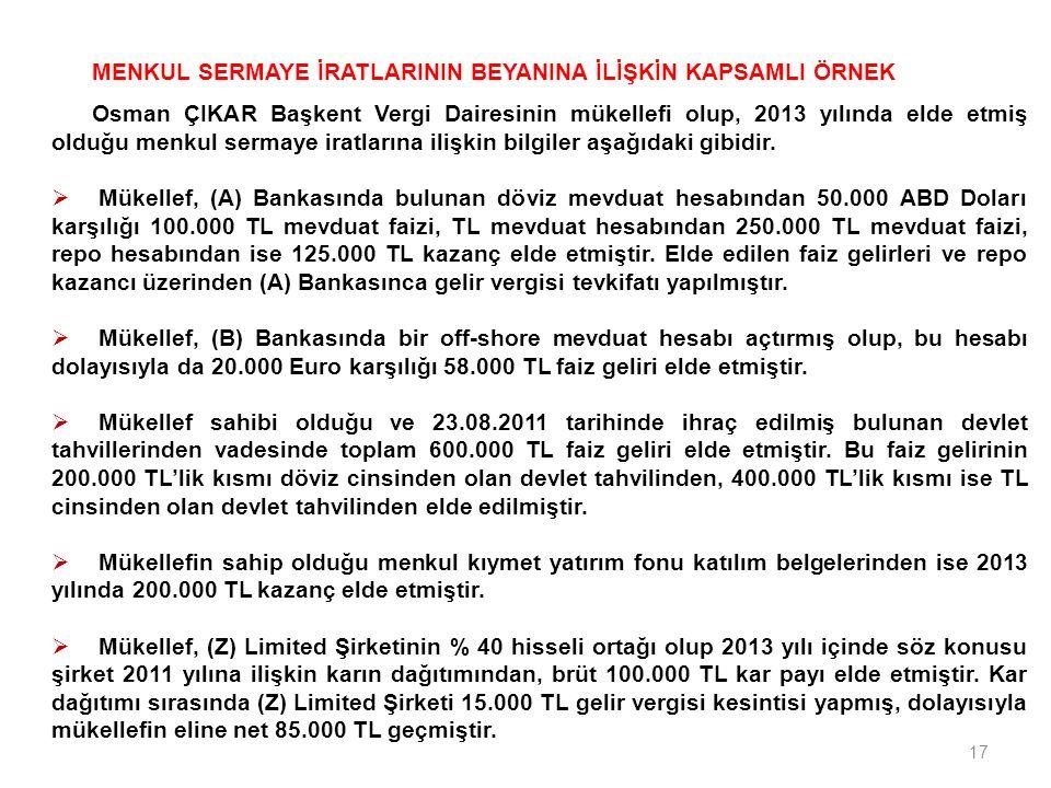 17 MENKUL SERMAYE İRATLARININ BEYANINA İLİŞKİN KAPSAMLI ÖRNEK Osman ÇIKAR Başkent Vergi Dairesinin mükellefi olup, 2013 yılında elde etmiş olduğu menk