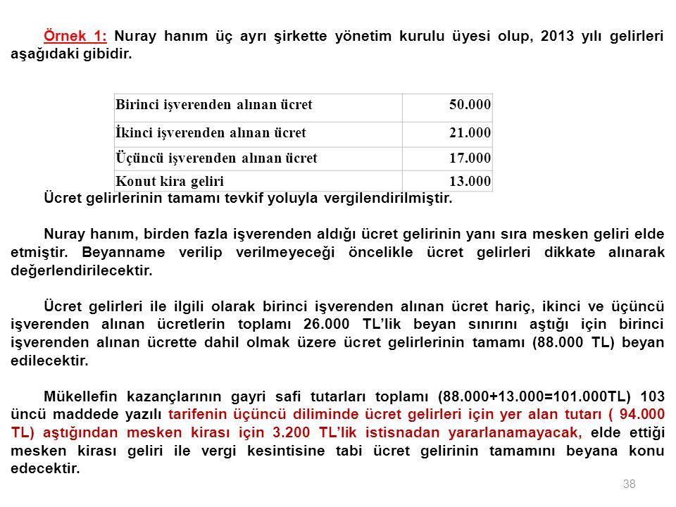 38 Birinci işverenden alınan ücret50.000 İkinci işverenden alınan ücret21.000 Üçüncü işverenden alınan ücret17.000 Konut kira geliri13.000 Örnek 1: Nu