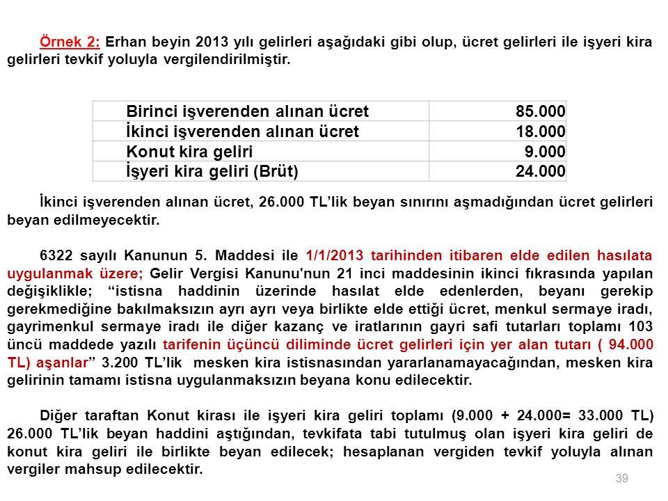39 Birinci işverenden alınan ücret85.000 İkinci işverenden alınan ücret18.000 Konut kira geliri9.000 İşyeri kira geliri (Brüt)24.000 Örnek 2: Erhan be