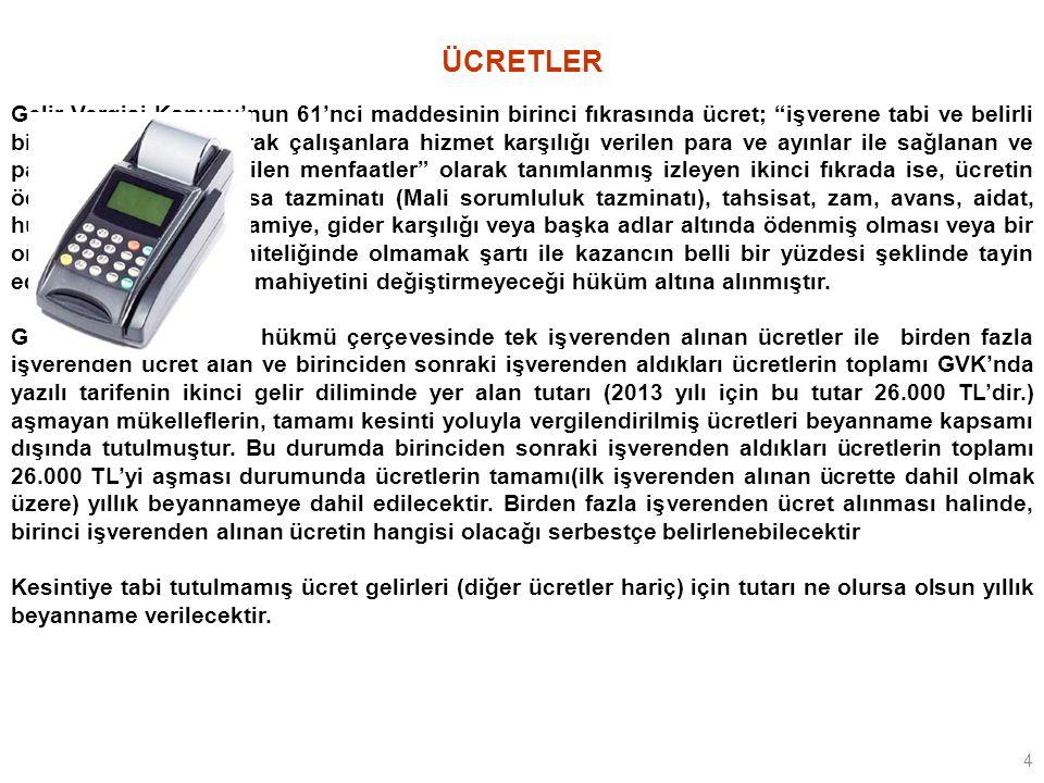 45 Örnek 7: Serbest Meslek Kazancının Yanı Sıra Ücret ve Menkul Sermaye İradı Elde Eden Olan Bir Mükellefin Beyanı Doktor Masum ÖZCAN, Özel Ankara Hastanesinde çalışmaktadır.