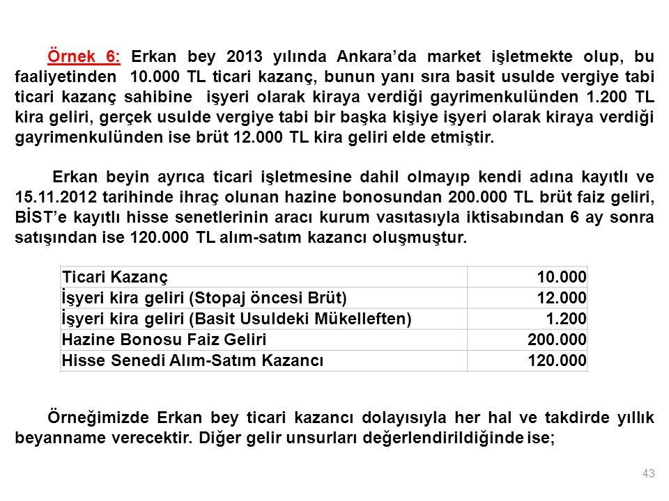 43 Ticari Kazanç10.000 İşyeri kira geliri (Stopaj öncesi Brüt)12.000 İşyeri kira geliri (Basit Usuldeki Mükelleften)1.200 Hazine Bonosu Faiz Geliri200.000 Hisse Senedi Alım-Satım Kazancı120.000 Örnek 6: Erkan bey 2013 yılında Ankara'da market işletmekte olup, bu faaliyetinden 10.000 TL ticari kazanç, bunun yanı sıra basit usulde vergiye tabi ticari kazanç sahibine işyeri olarak kiraya verdiği gayrimenkulünden 1.200 TL kira geliri, gerçek usulde vergiye tabi bir başka kişiye işyeri olarak kiraya verdiği gayrimenkulünden ise brüt 12.000 TL kira geliri elde etmiştir.