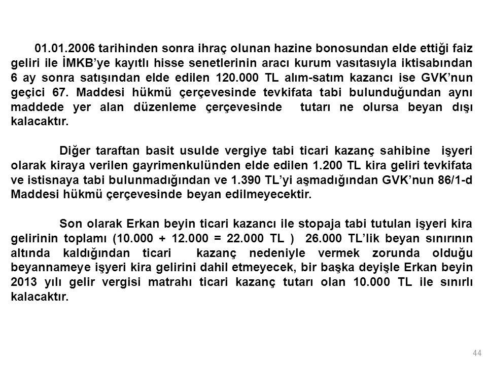 44 01.01.2006 tarihinden sonra ihraç olunan hazine bonosundan elde ettiği faiz geliri ile İMKB'ye kayıtlı hisse senetlerinin aracı kurum vasıtasıyla iktisabından 6 ay sonra satışından elde edilen 120.000 TL alım-satım kazancı ise GVK'nun geçici 67.