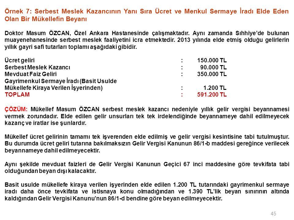 45 Örnek 7: Serbest Meslek Kazancının Yanı Sıra Ücret ve Menkul Sermaye İradı Elde Eden Olan Bir Mükellefin Beyanı Doktor Masum ÖZCAN, Özel Ankara Has
