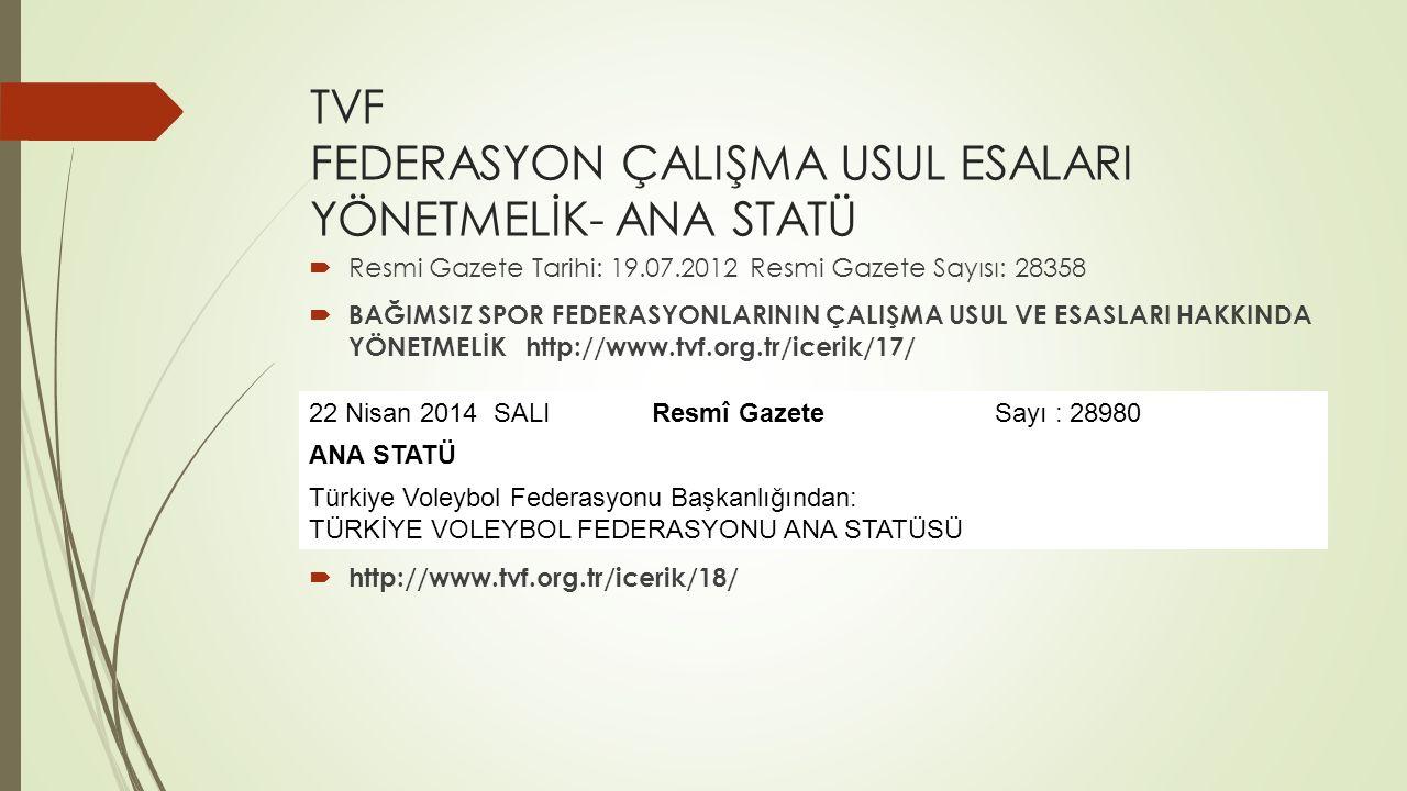 TVF FEDERASYON ÇALIŞMA USUL ESALARI YÖNETMELİK- ANA STATÜ  Resmi Gazete Tarihi: 19.07.2012 Resmi Gazete Sayısı: 28358  BAĞIMSIZ SPOR FEDERASYONLARIN