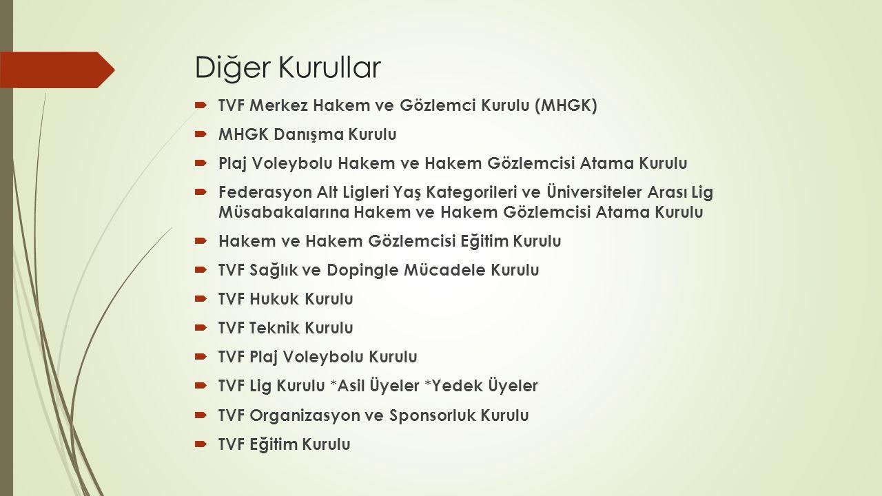 Diğer Kurullar  TVF Merkez Hakem ve Gözlemci Kurulu (MHGK)  MHGK Danışma Kurulu  Plaj Voleybolu Hakem ve Hakem Gözlemcisi Atama Kurulu  Federasyon