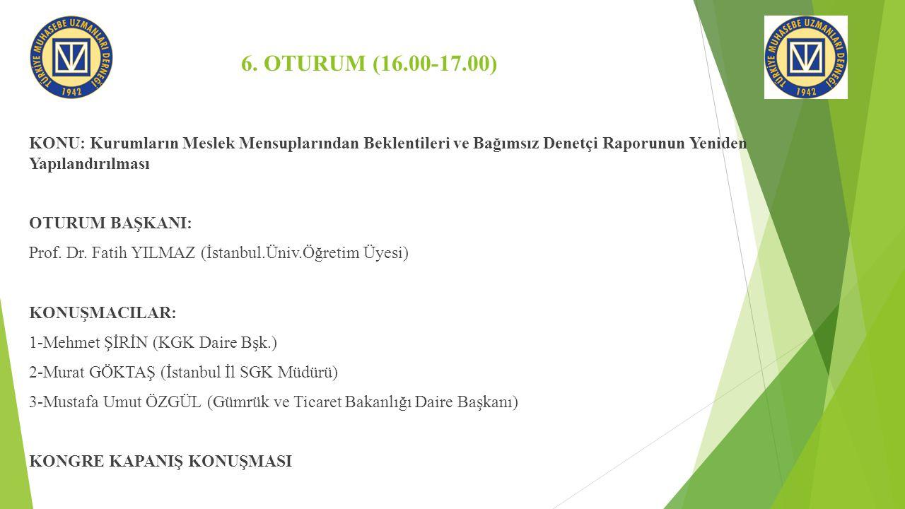 6. OTURUM (16.00-17.00) KONU: Kurumların Meslek Mensuplarından Beklentileri ve Bağımsız Denetçi Raporunun Yeniden Yapılandırılması OTURUM BAŞKANI: Pro