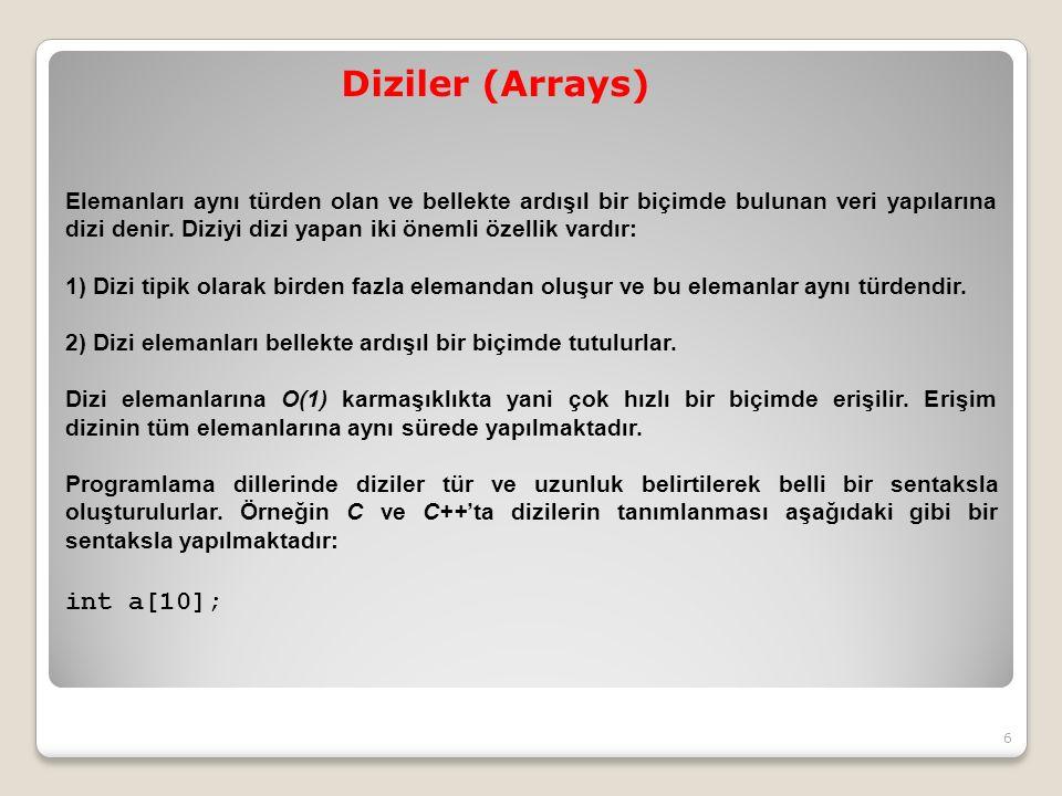 Diziler (Arrays) Elemanları aynı türden olan ve bellekte ardışıl bir biçimde bulunan veri yapılarına dizi denir.
