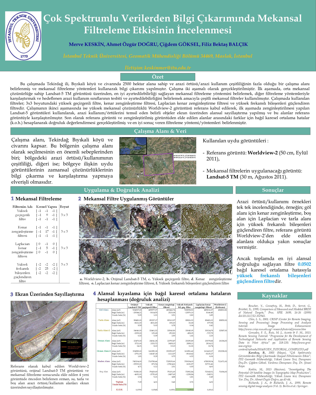 Bu çalışmada Tekirdağ ili, Bıyıkali köyü ve civarında 2500 hektar alana sahip ve arazi örtüsü/arazi kullanım çeşitliliğinin fazla olduğu bir çalışma alanı belirlenmiş ve mekansal filtreleme yöntemleri kullanarak bilgi çıkarımı yapılmıştır.