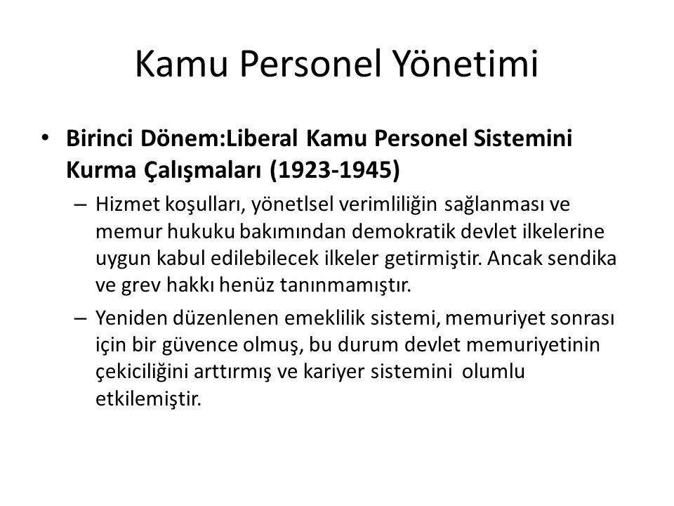 Kamu Personel Yönetimi Birinci Dönem:Liberal Kamu Personel Sistemini Kurma Çalışmaları (1923-1945) – Hizmet koşulları, yönetlsel verimliliğin sağlanması ve memur hukuku bakımından demokratik devlet ilkelerine uygun kabul edilebilecek ilkeler getirmiştir.