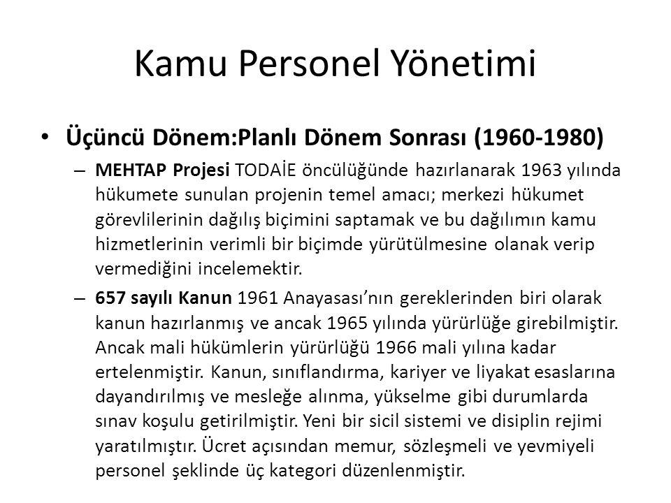 Kamu Personel Yönetimi Üçüncü Dönem:Planlı Dönem Sonrası (1960-1980) – MEHTAP Projesi TODAİE öncülüğünde hazırlanarak 1963 yılında hükumete sunulan projenin temel amacı; merkezi hükumet görevlilerinin dağılış biçimini saptamak ve bu dağılımın kamu hizmetlerinin verimli bir biçimde yürütülmesine olanak verip vermediğini incelemektir.