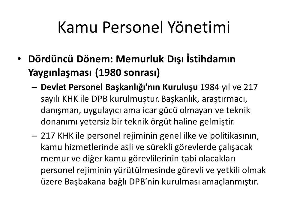 Kamu Personel Yönetimi Dördüncü Dönem: Memurluk Dışı İstihdamın Yaygınlaşması (1980 sonrası) – Devlet Personel Başkanlığı'nın Kuruluşu 1984 yıl ve 217 sayılı KHK ile DPB kurulmuştur.
