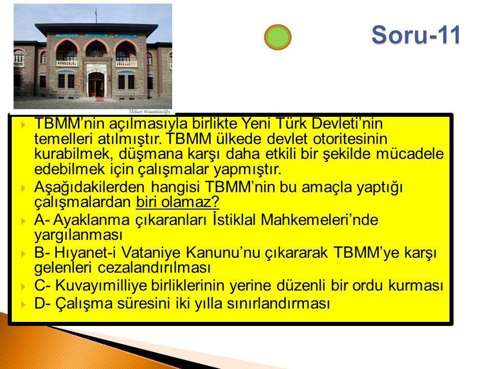  TBMM'nin açılmasıyla birlikte Yeni Türk Devleti'nin temelleri atılmıştır. TBMM ülkede devlet otoritesinin kurabilmek, düşmana karşı daha etkili bir