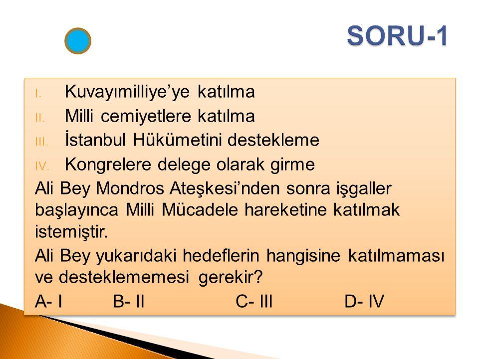I. Kuvayımilliye'ye katılma II. Milli cemiyetlere katılma III. İstanbul Hükümetini destekleme IV. Kongrelere delege olarak girme Ali Bey Mondros Ateşk
