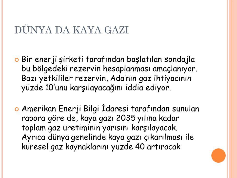 DÜNYA DA KAYA GAZI Bir enerji şirketi tarafından başlatılan sondajla bu bölgedeki rezervin hesaplanması amaçlanıyor.