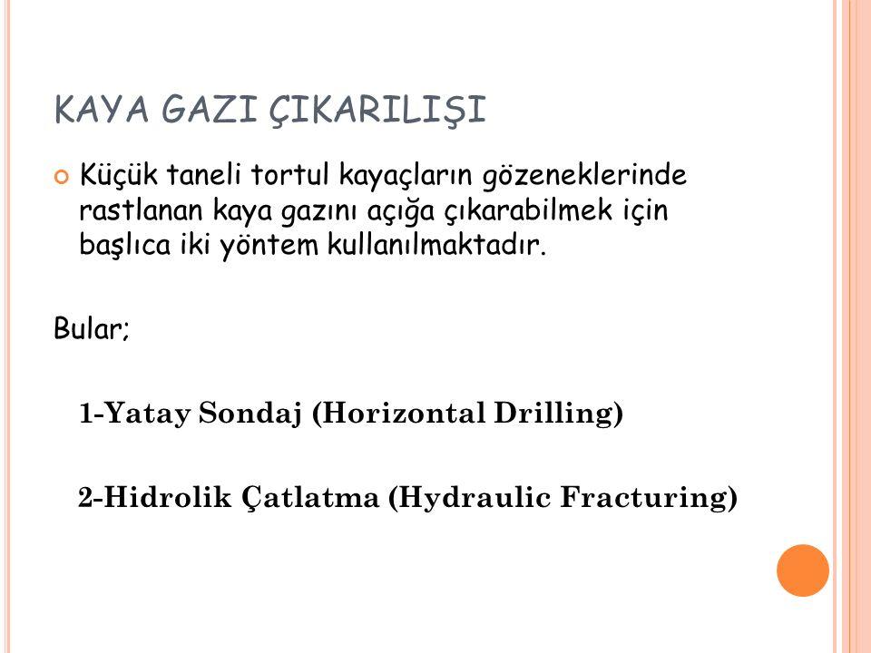 KAYA GAZI ÇIKARILIŞI Küçük taneli tortul kayaçların gözeneklerinde rastlanan kaya gazını açığa çıkarabilmek için başlıca iki yöntem kullanılmaktadır.