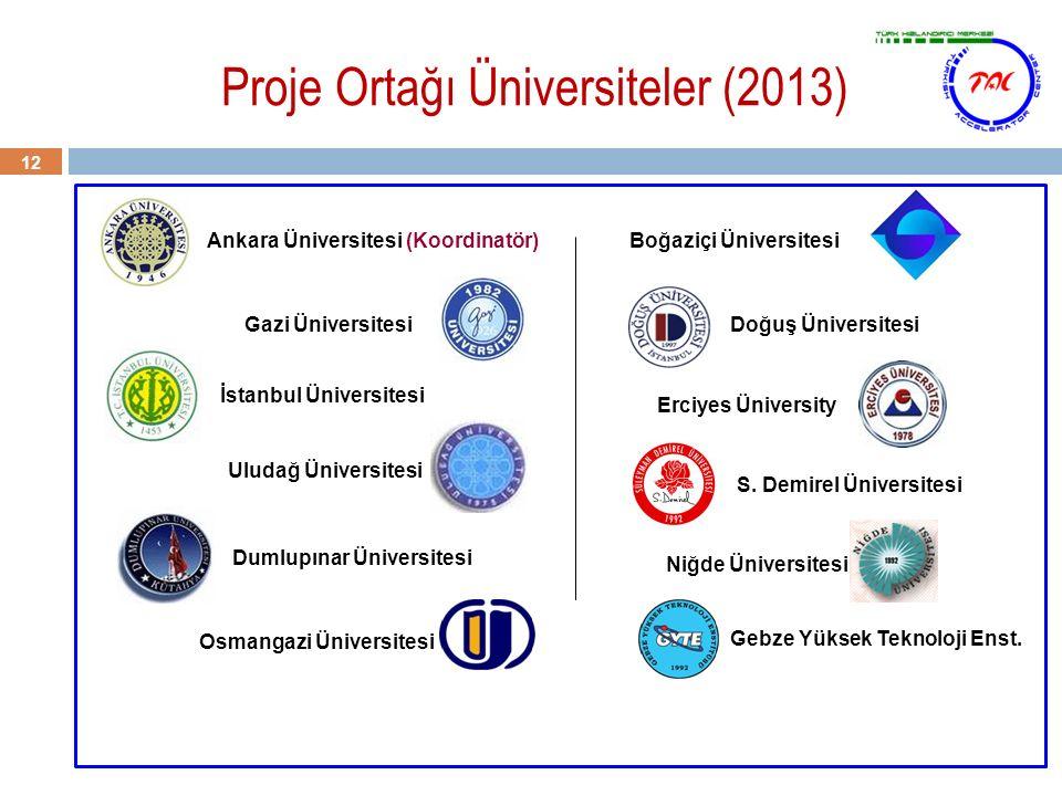 Proje Ortağı Üniversiteler (2013) 12 Ankara Üniversitesi (Koordinatör) Gazi Üniversitesi İstanbul Üniversitesi Uludağ Üniversitesi Dumlupınar Üniversi