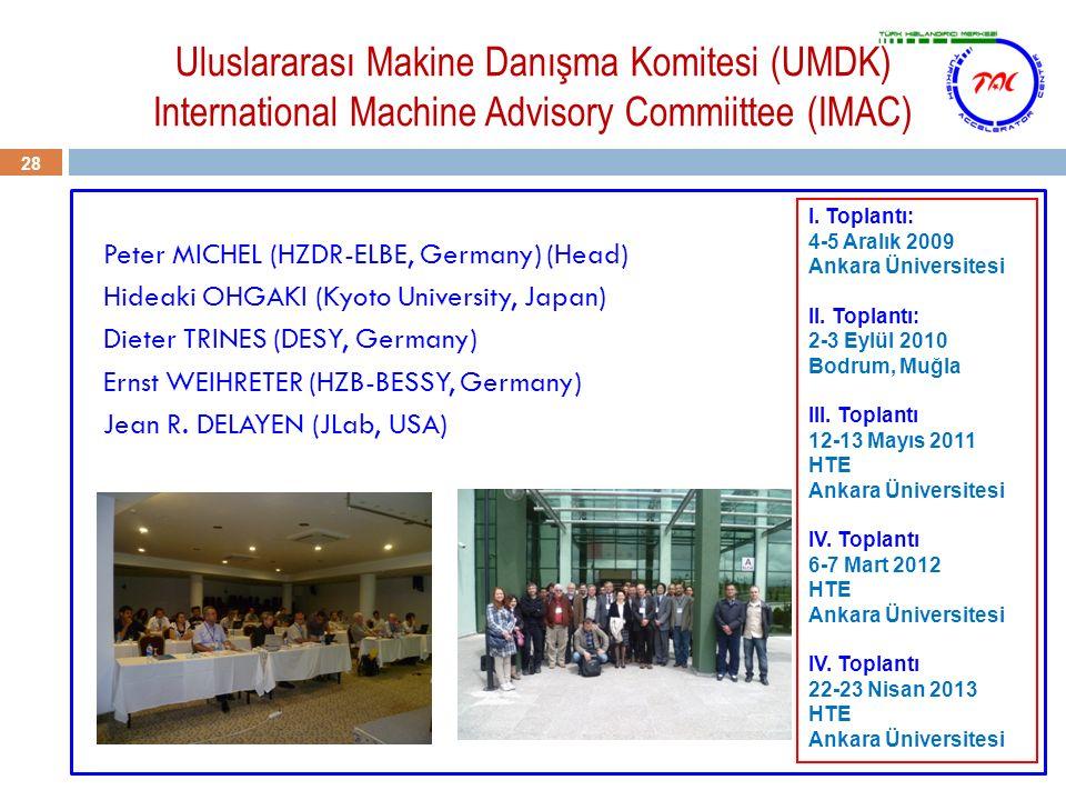 Uluslararası Makine Danışma Komitesi (UMDK) International Machine Advisory Commiittee (IMAC) 28 Peter MICHEL (HZDR-ELBE, Germany) (Head) Hideaki OHGAK