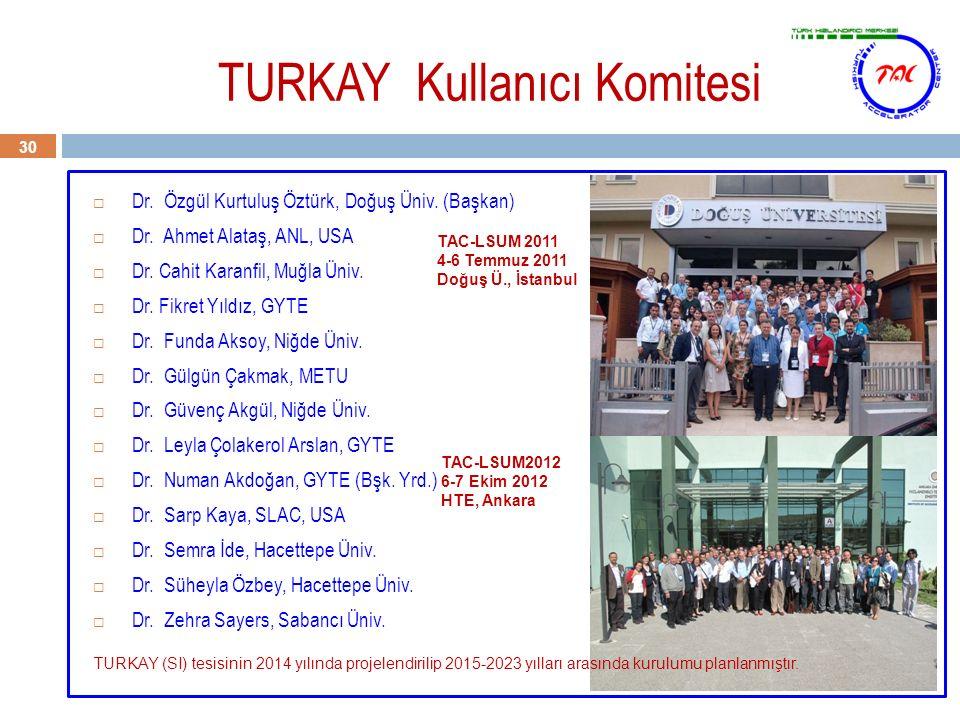 TURKAY Kullanıcı Komitesi 30  Dr. Özgül Kurtuluş Öztürk, Doğuş Üniv. (Başkan)  Dr. Ahmet Alataş, ANL, USA  Dr. Cahit Karanfil, Muğla Üniv.  Dr. Fi