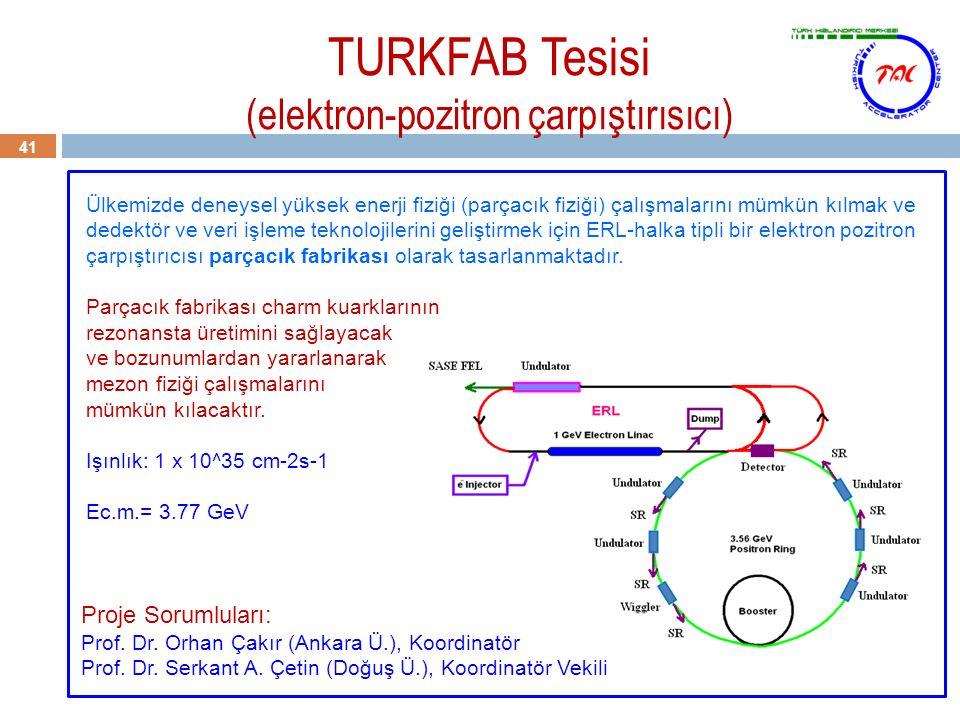 TURKFAB Tesisi (elektron-pozitron çarpıştırısıcı) 41 Ülkemizde deneysel yüksek enerji fiziği (parçacık fiziği) çalışmalarını mümkün kılmak ve dedektör