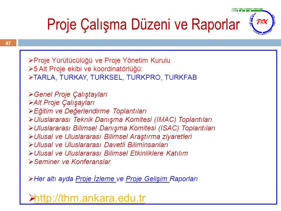 Proje Çalışma Düzeni ve Raporlar 47  Proje Yürütücülüğü ve Proje Yönetim Kurulu  5 Alt Proje ekibi ve koordinatörlüğü:  TARLA, TURKAY, TURKSEL, TUR