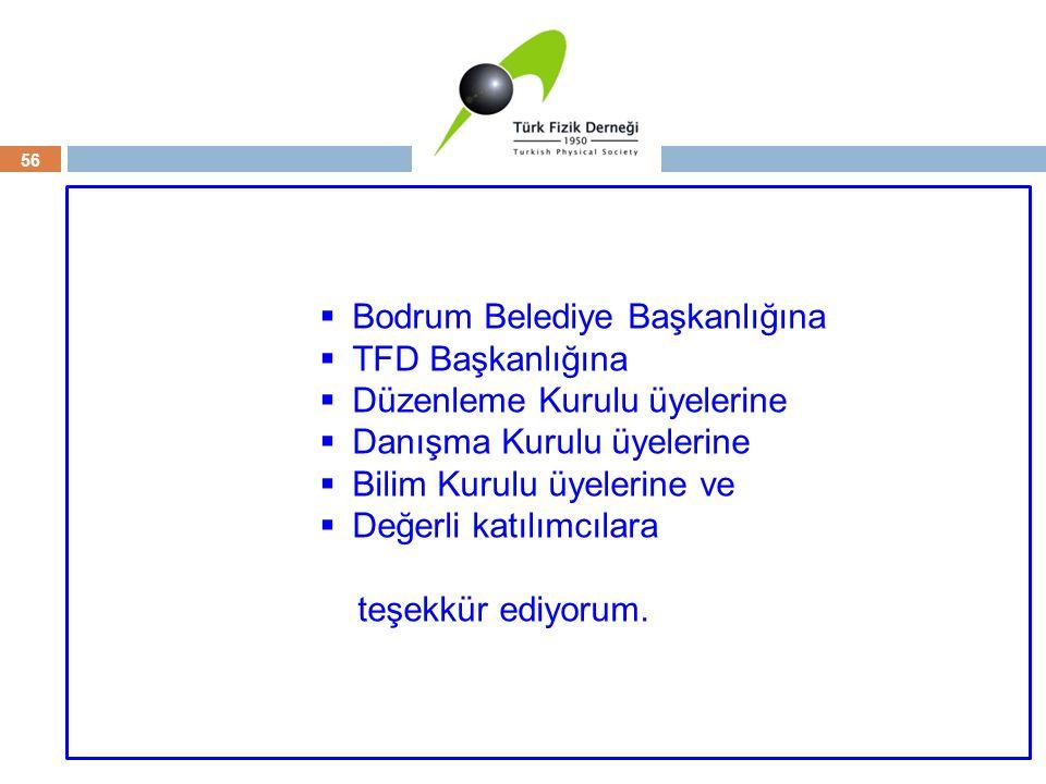 Teşekkür 56  Bodrum Belediye Başkanlığına  TFD Başkanlığına  Düzenleme Kurulu üyelerine  Danışma Kurulu üyelerine  Bilim Kurulu üyelerine ve  De