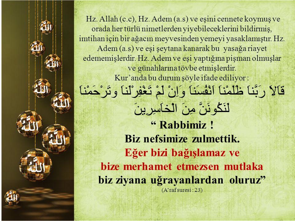 Hz. Allah (c.c), Hz. Adem (a.s) ve eşini cennete koymuş ve orada her türlü nimetlerden yiyebileceklerini bildirmiş, imtihan için bir ağacın meyvesinde