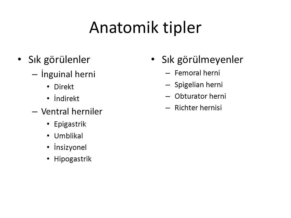 Anatomik tipler Sık görülenler – İnguinal herni Direkt İndirekt – Ventral herniler Epigastrik Umblikal İnsizyonel Hipogastrik Sık görülmeyenler – Femoral herni – Spigelian herni – Obturator herni – Richter hernisi