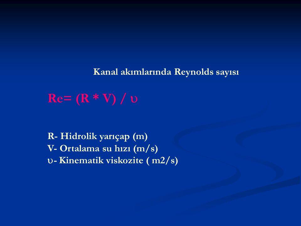 Kanal akımlarında Reynolds sayısı Re= (R * V) /  R- Hidrolik yarıçap (m) V- Ortalama su hızı (m/s)  - Kinematik viskozite ( m2/s)