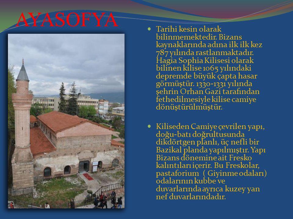 AYASOFYA Tarihi kesin olarak bilinmemektedir. Bizans kaynaklarında adına ilk ilk kez 787 yılında rastlanmaktadır. Hagia Sophia Kilisesi olarak bilinen