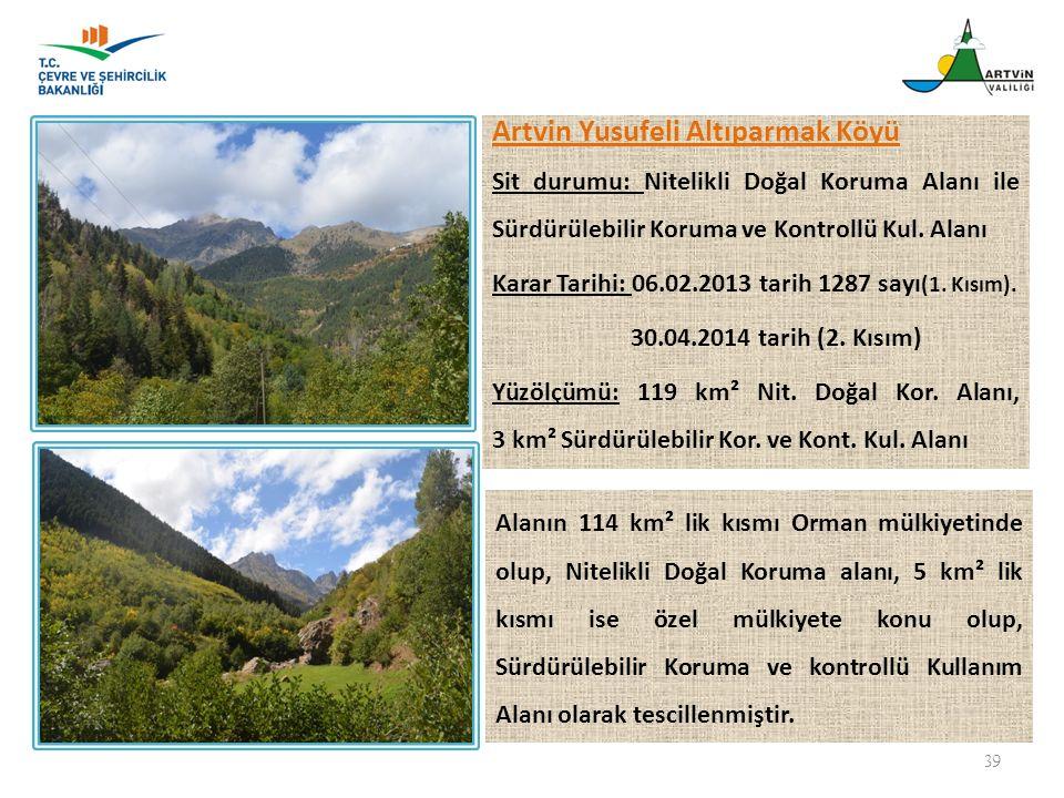 39 Artvin Yusufeli Altıparmak Köyü Sit durumu: Nitelikli Doğal Koruma Alanı ile Sürdürülebilir Koruma ve Kontrollü Kul. Alanı Karar Tarihi: 06.02.2013