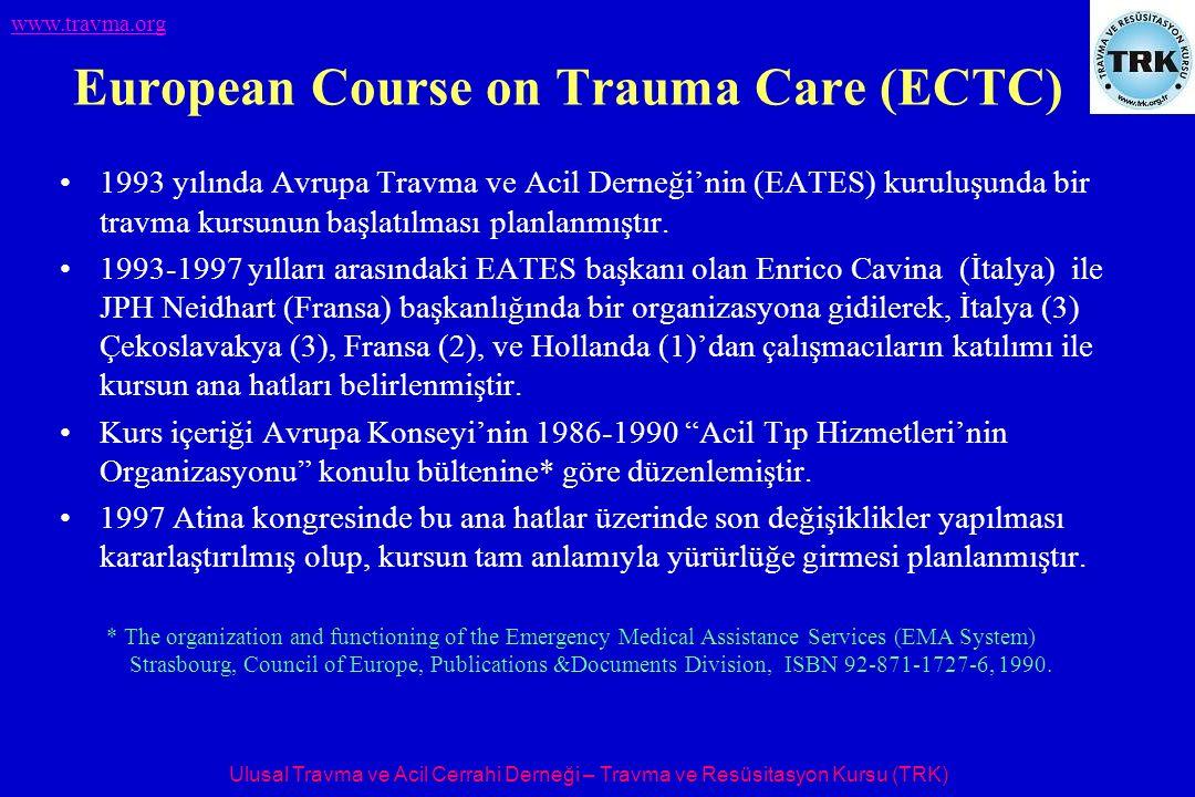 Ulusal Travma ve Acil Cerrahi Derneği – Travma ve Resüsitasyon Kursu (TRK) www.travma.org European Course on Trauma Care (ECTC) 1993 yılında Avrupa Travma ve Acil Derneği'nin (EATES) kuruluşunda bir travma kursunun başlatılması planlanmıştır.