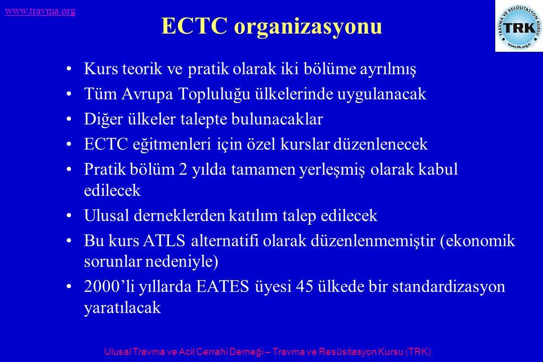 Ulusal Travma ve Acil Cerrahi Derneği – Travma ve Resüsitasyon Kursu (TRK) www.travma.org ECTC organizasyonu Kurs teorik ve pratik olarak iki bölüme a