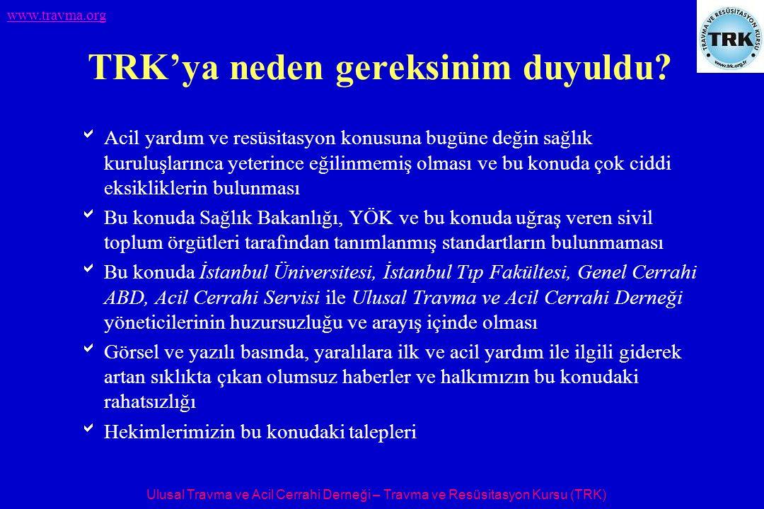 Ulusal Travma ve Acil Cerrahi Derneği – Travma ve Resüsitasyon Kursu (TRK) www.travma.org TRK'ya neden gereksinim duyuldu.