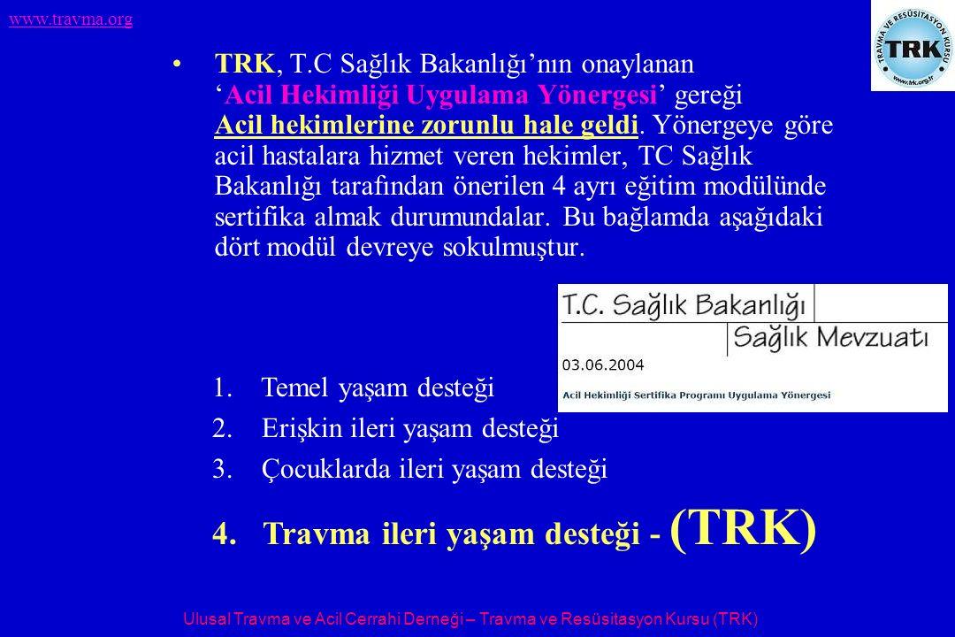 Ulusal Travma ve Acil Cerrahi Derneği – Travma ve Resüsitasyon Kursu (TRK) www.travma.org TRK, T.C Sağlık Bakanlığı'nın onaylanan 'Acil Hekimliği Uygu
