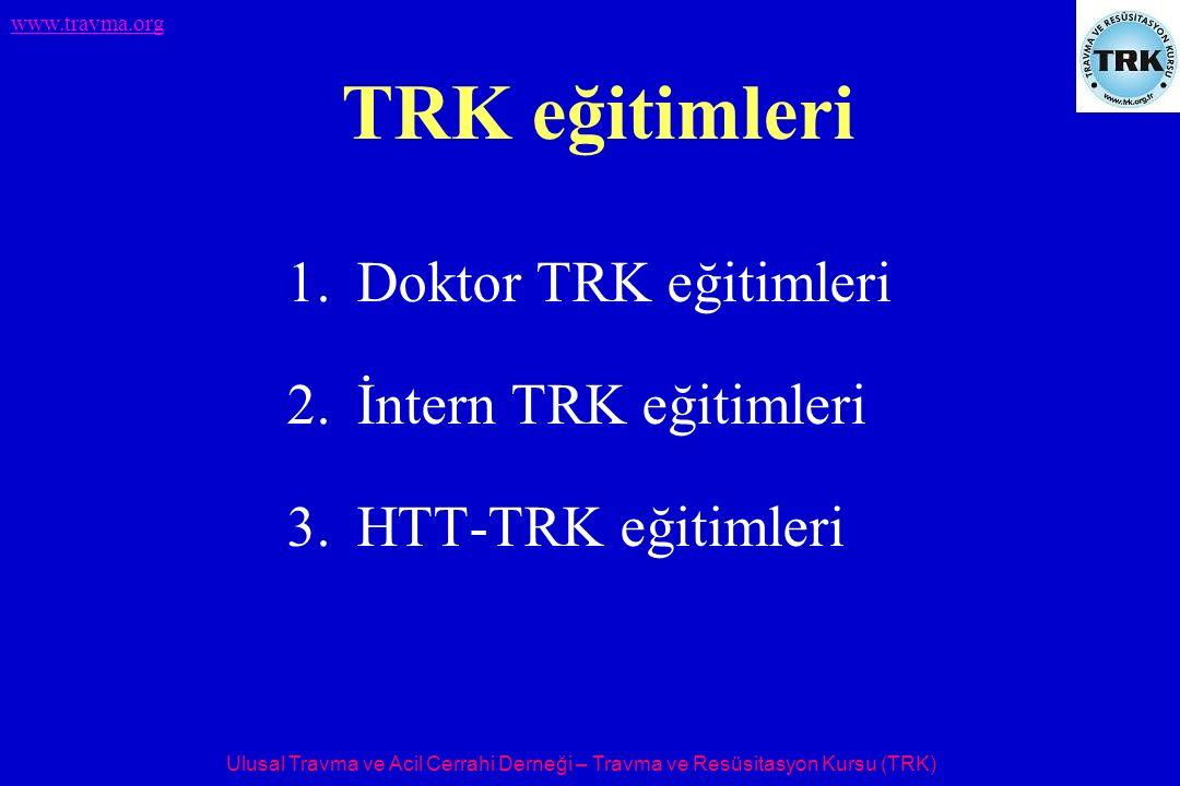 Ulusal Travma ve Acil Cerrahi Derneği – Travma ve Resüsitasyon Kursu (TRK) www.travma.org TRK eğitimleri 1.Doktor TRK eğitimleri 2.İntern TRK eğitimle