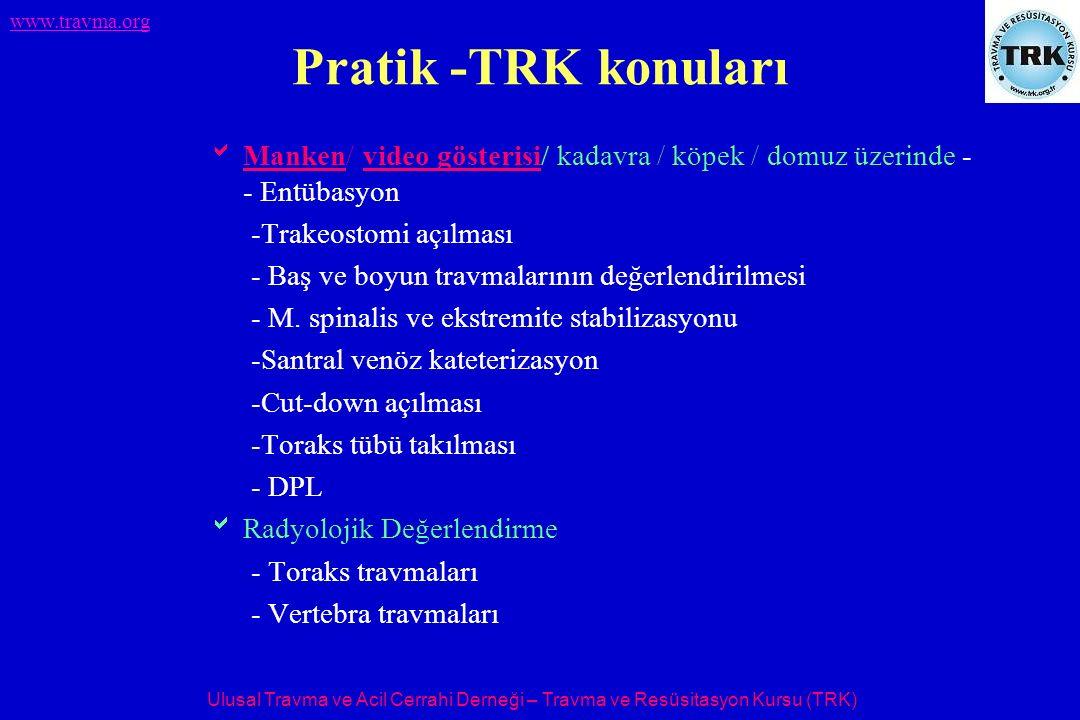 Ulusal Travma ve Acil Cerrahi Derneği – Travma ve Resüsitasyon Kursu (TRK) www.travma.org Pratik -TRK konuları  Manken/ video gösterisi/ kadavra / kö