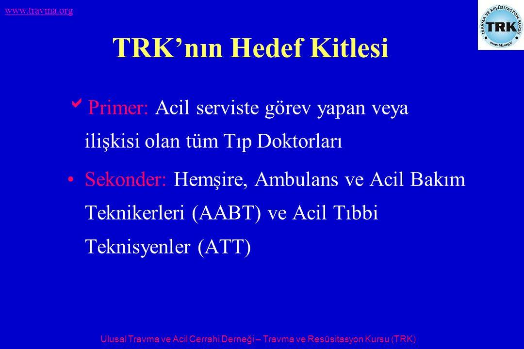 Ulusal Travma ve Acil Cerrahi Derneği – Travma ve Resüsitasyon Kursu (TRK) www.travma.org TRK'nın Ana Hedefi  Travma sonrası ölümlerin 2.