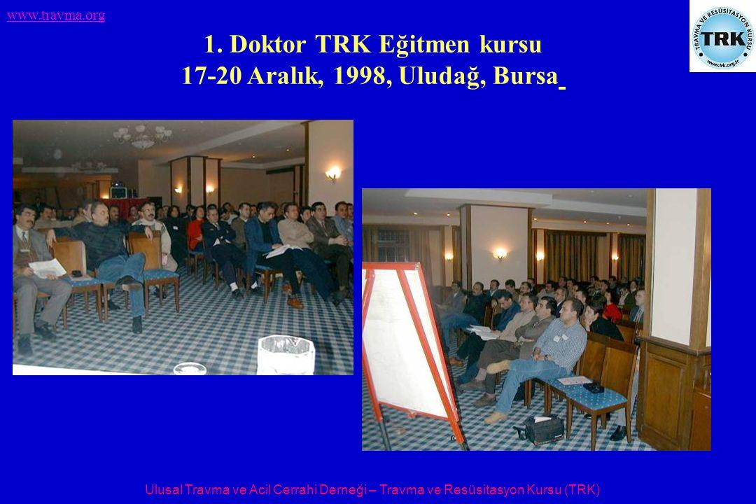 Ulusal Travma ve Acil Cerrahi Derneği – Travma ve Resüsitasyon Kursu (TRK) www.travma.org 1. Doktor TRK Eğitmen kursu 17-20 Aralık, 1998, Uludağ, Burs