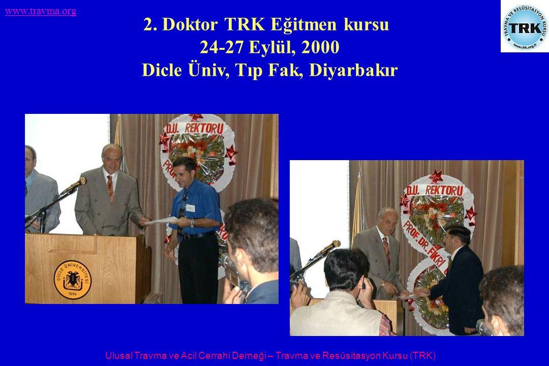 Ulusal Travma ve Acil Cerrahi Derneği – Travma ve Resüsitasyon Kursu (TRK) www.travma.org 2. Doktor TRK Eğitmen kursu 24-27 Eylül, 2000 Dicle Üniv, Tı