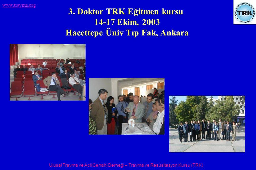 Ulusal Travma ve Acil Cerrahi Derneği – Travma ve Resüsitasyon Kursu (TRK) www.travma.org 3. Doktor TRK Eğitmen kursu 14-17 Ekim, 2003 Hacettepe Üniv