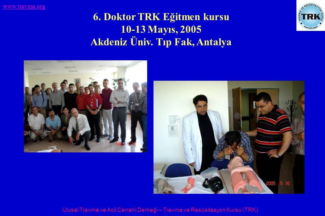 Ulusal Travma ve Acil Cerrahi Derneği – Travma ve Resüsitasyon Kursu (TRK) www.travma.org 6. Doktor TRK Eğitmen kursu 10-13 Mayıs, 2005 Akdeniz Üniv.