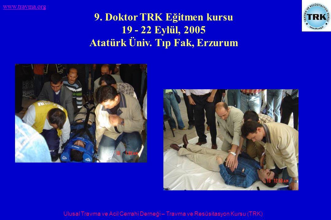 Ulusal Travma ve Acil Cerrahi Derneği – Travma ve Resüsitasyon Kursu (TRK) www.travma.org 9. Doktor TRK Eğitmen kursu 19 - 22 Eylül, 2005 Atatürk Üniv